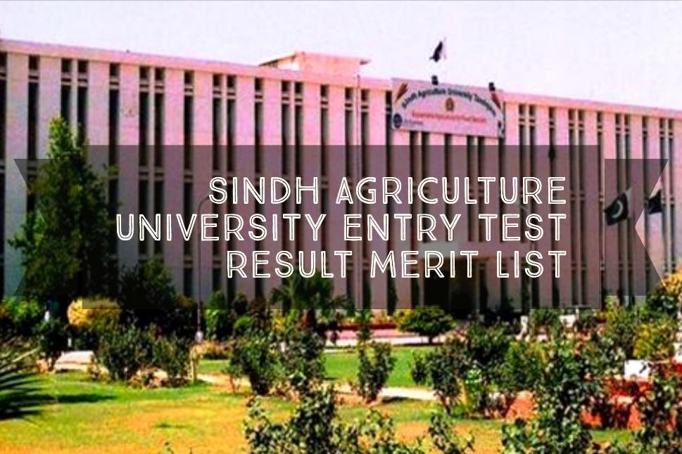 Sindh Agriculture University Entry Test Result Merit List