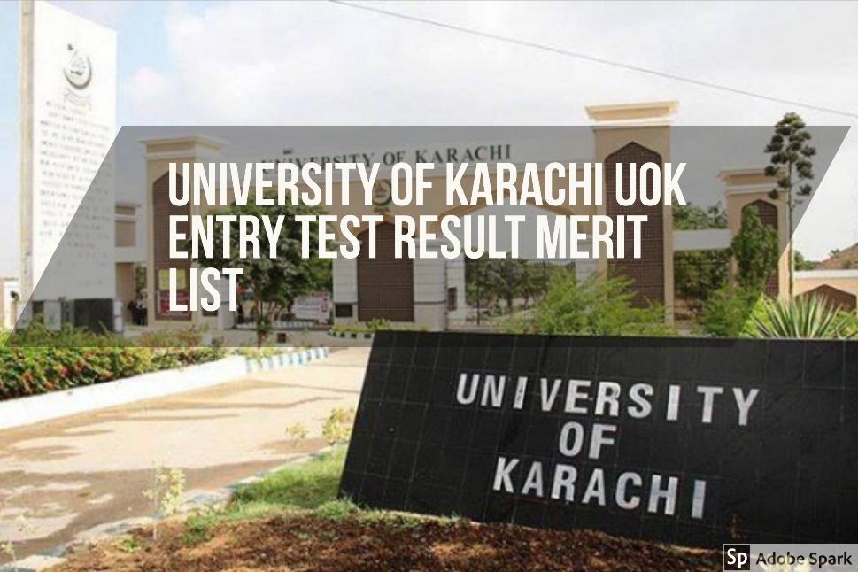 University of Karachi UOK Entry Test Result Merit List